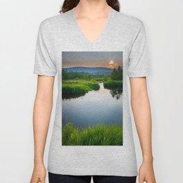 Blackwater River Sunset Landscape Photography Print Unisex V-Neck