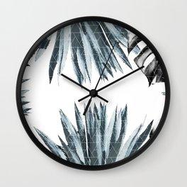 Geometric agave & monstera Wall Clock