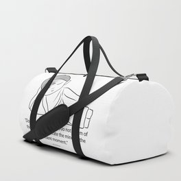 Contemplating Buddha with quote to inspire. Duffle Bag