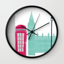 London Red Telephone Box (pink) Wall Clock