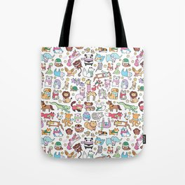 Winter Animals with Scarves Doodle Tote Bag