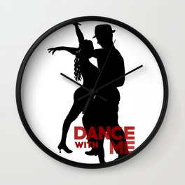 Dance with me - Ink Painting +  Typography Wall Art Home Decor Black and White Music  Wall Clock