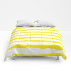 Sunny Yellow STRIPES Handpainted Brushstrokes Comforters