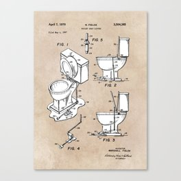 patent art Fields Toilet seat lifter 1967 Canvas Print