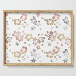 Rose Gold Copper Bronze Tropical Flowers Multi Metallic Serving Tray