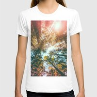 sun T-shirts featuring California Redwoods Sun-rays and Sky by Elena Kulikova