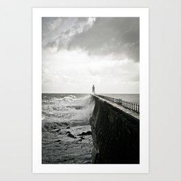 Waves break against an English pier Art Print