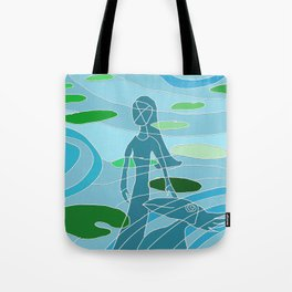 woman and bird - lily pond reflection Tote Bag