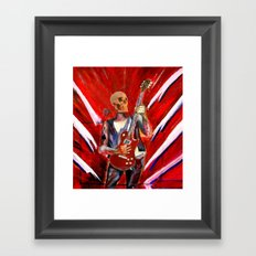 Fantasy art heavy metal skull guitarist Framed Art Print