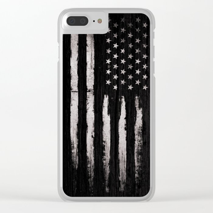 White Grunge American flag Clear iPhone Case