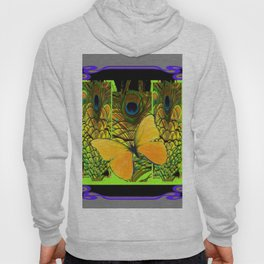 GREY-PURPLE ART NOUVEAU PEACOCK BUTTERFLY Hoody