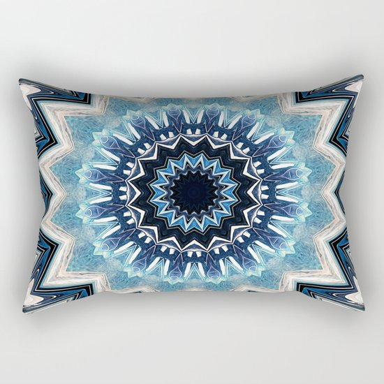 Pointed Blue Mandala Rectangular Pillow