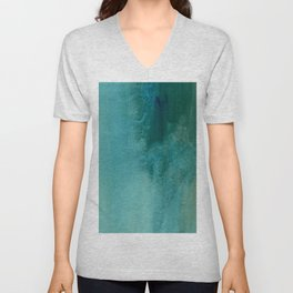 Forest green teal hand painted watercolor ombre Unisex V-Neck