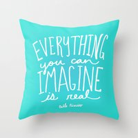 picasso Throw Pillows featuring Picasso: Imagine by Leah Flores