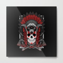 Native Skull Metal Print