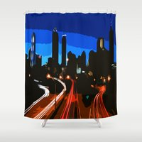 cities Shower Curtains featuring Cities: Atlanta, Georgia, USA by Liesl Marelli