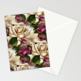 Burgundy & Cream Roses Stationery Cards