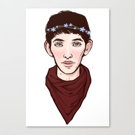 Merlin Flowercrown Canvas Print