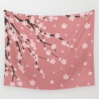 sakura Wall Tapestries featuring Sakura by Julia Badeeva