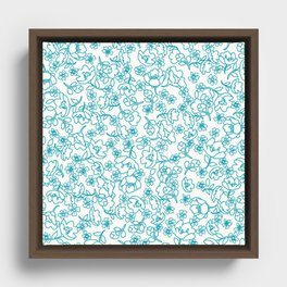 Turquoise Flowers Framed Canvas