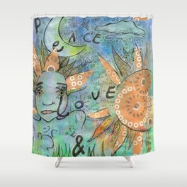 peace, love and music Shower Curtain