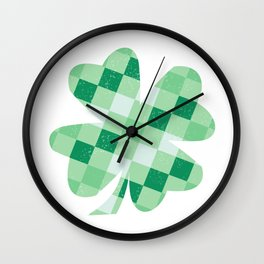 Checkered Shamrock. Four Leaf Clover. St Patrick's Day Wall Clock