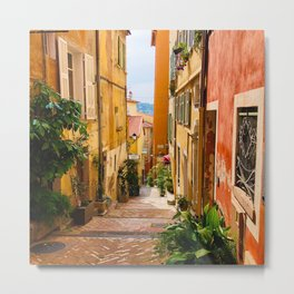 French Riviera Alleys Metal Print