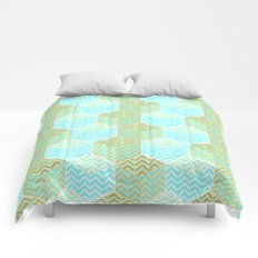 Cubes in teal and golden chevron Comforters