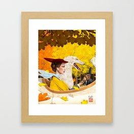 Autumn Drive with Borzoi Framed Art Print