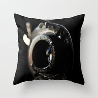 camera Throw Pillows featuring camera by Ingrid Beddoes