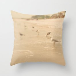 Sea Gulls and Waves Throw Pillow