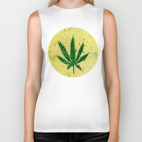 marijuana Biker Tanks featuring MARIJUANA by Sha Abdullah