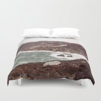 league Duvet Covers featuring Slieve League in winter by Marie Carr