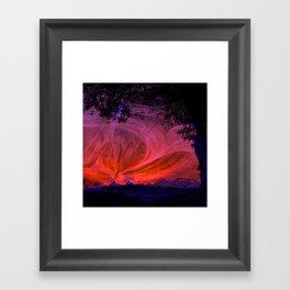 Fiery fractal sunset Framed Art Print