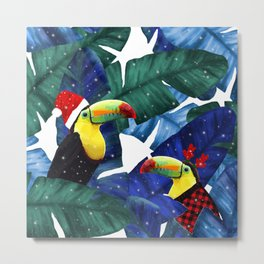 Holidays Tropical Toucan In The Snow Metal Print
