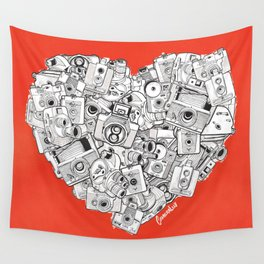 Camera Heart - on red Wall Tapestry