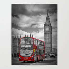 LONDON Houses of Parliament & Red Bus Poster