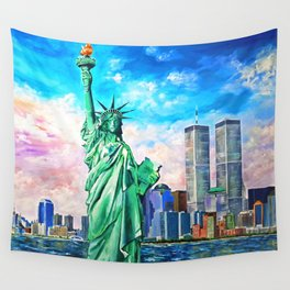 NYC, WTC, Twin Towers, Statue of Liberty Wall Tapestry