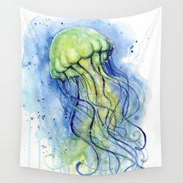 Jellyfish Watercolor Beautiful Sea Creatures Wall Tapestry
