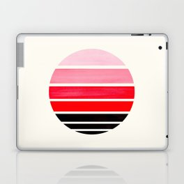 Red Mid Century Modern Minimalist Circle Round Photo Staggered Sunset Geometric Stripe Design Laptop & iPad Skin