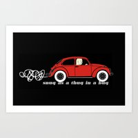 volkswagon Art Prints featuring Snug as a Thug in a Bug (red) by The Wallpaper Files