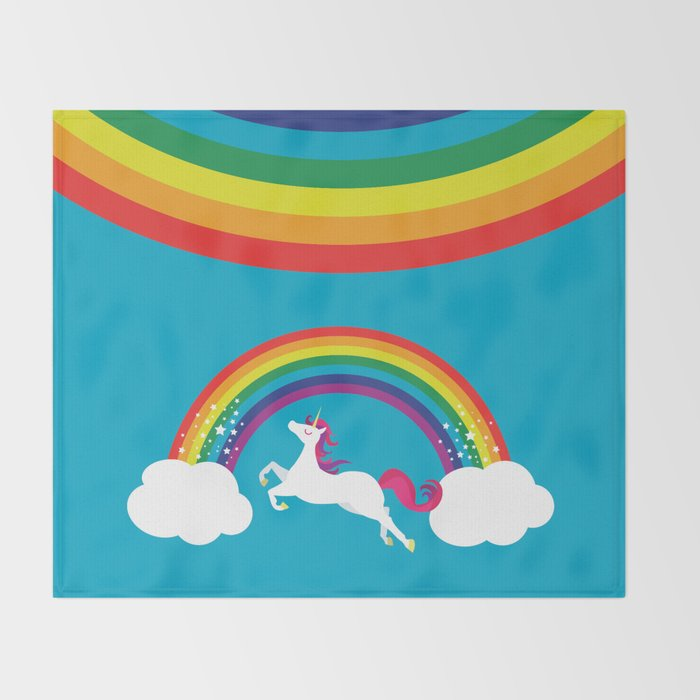 Unicorn Rainbow in the Sky Throw Blanket