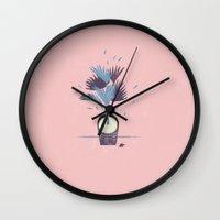 palm tree Wall Clocks featuring Palm tree by Sander Berg