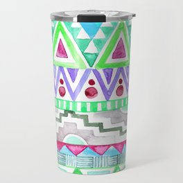 Watercolor Aztec Pattern Mint Travel Mug