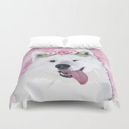 Pretty Samoyed Dog Duvet Cover