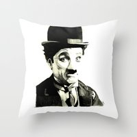 charlie chaplin Throw Pillows featuring Charlie Chaplin by Lauren Randalls ART