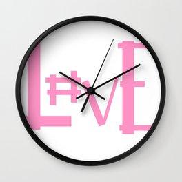 Pink Hashtag Love Wall Clock