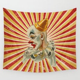 Scary vintage circus clown Wall Tapestry