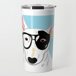 Hipster Bull Terrier Travel Mug