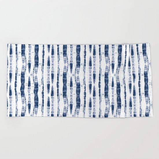 Shibori Stripes 2 Indigo Blue Beach Towel
